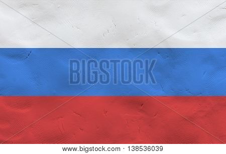 Russian national flag made of plasticine (national symbol).