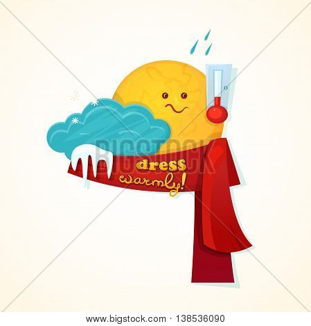 Concept design of the seasonal weather changes, sun cute character upset temperature reduction and encourages dress warmer, vector illustration