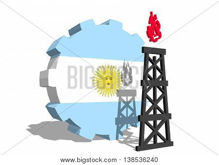 3D gear with gas rig simple icon, textured by Argentina flag. Heavy and mining industry concept. 3D rendering