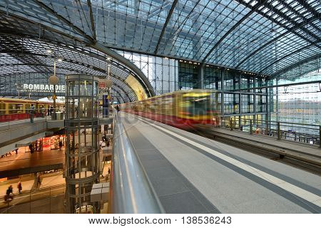 BERLIN - NOVEMBER 23: Berlin Central train station on 23 November 2013 in Berlin, Germany. 1,800 trains call at the station per day and the daily number of passengers is estimated to be at 350,000