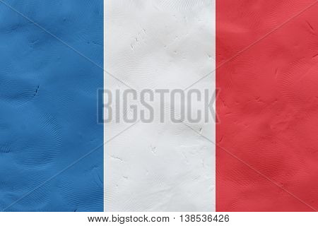 French national flag made of plasticine (national symbol).