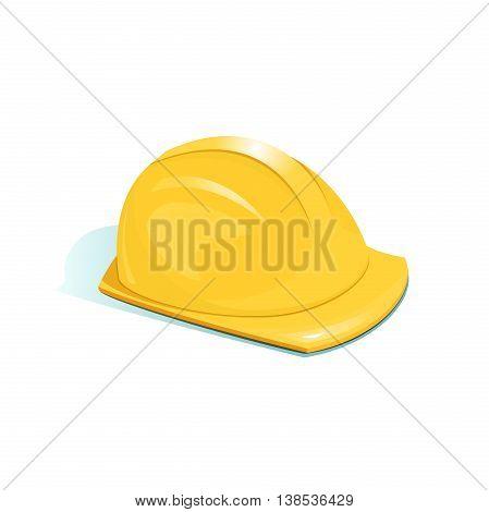 Yellow protective helmet of worker, vector illustration