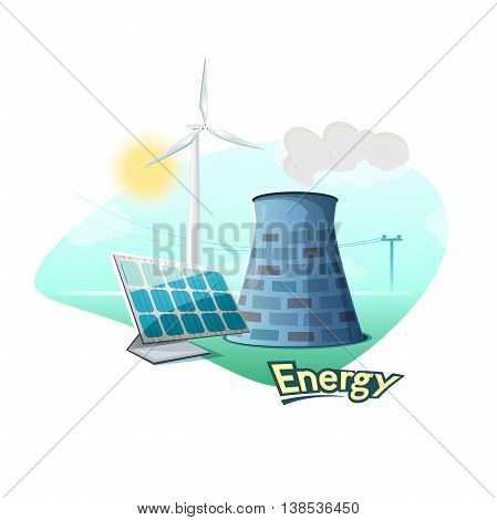 Different types of energy sources concept design, vector illustration