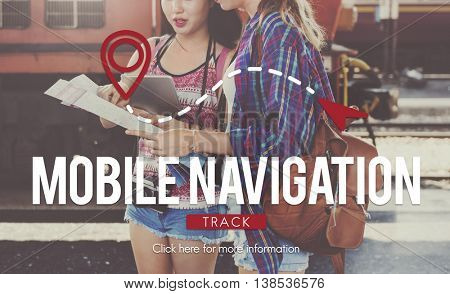 Mobile Navigation Direction Digital Gadget Internet Concept