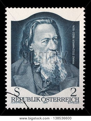 ZAGREB, CROATIA - JULY 03: stamp printed by Austria, shows Franz Stelzhamer, 100th Anniversary of the Death, circa 1974, on July 03, 2014, Zagreb, Croatia