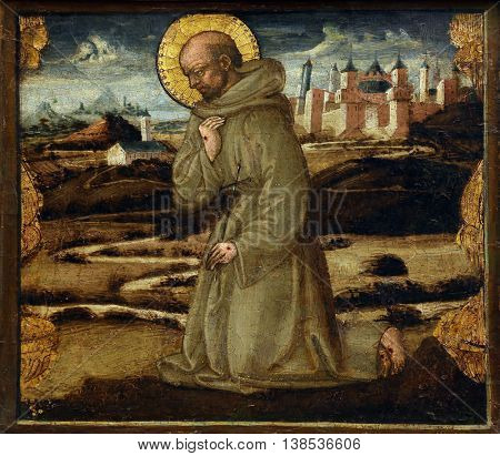 ZAGREB, CROATIA - DECEMBER 08: Neri di Bicci: St. Francis of Assisi, Old Masters Collection, Croatian Academy of Sciences, December 08, 2014 in Zagreb, Croatia