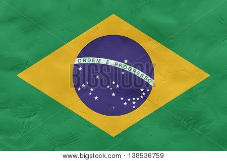 Brazil national flag made of plasticine (national symbol).