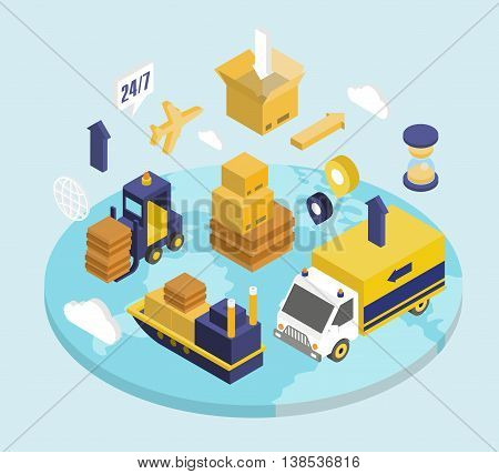 Logistics isometric set with transport safekeeping delivery 3d icons isolated illustration