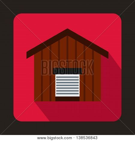 Large barn icon in flat style with long shadow. Building symbol