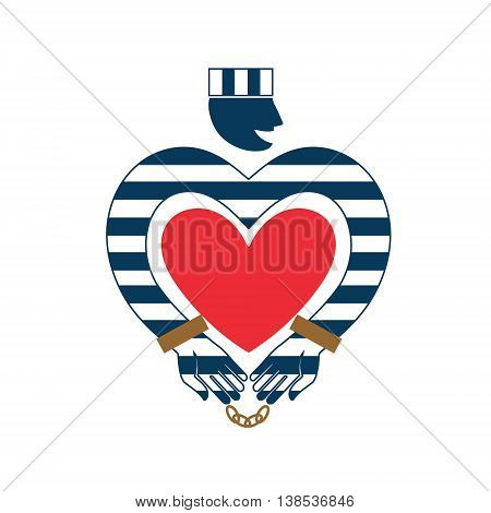 Flat style vector illustration on white background. Universal prisoner in striped uniform