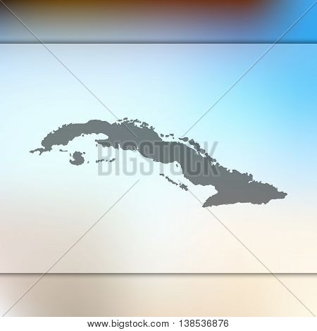 Cuba map on blurred background. Blurred background with silhouette of Cuba. Cuba. Cuba map.
