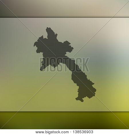 Laos map on blurred background. Blurred background with silhouette of Laos. Laos. Laos map.