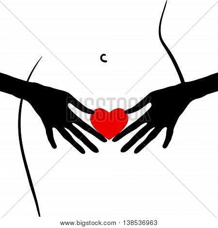 Woman with the heart. Erotica. Vector format