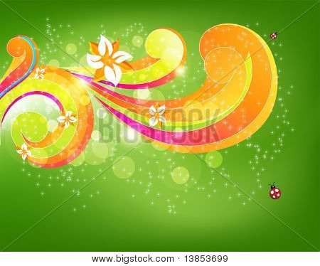 Abstract floral vector element for design. With flowers and ladybird.