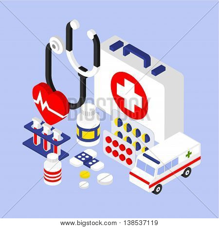 Flat 3d isometric infographic for medical instruments with aid kit