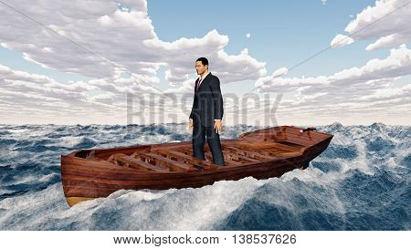 Computer generated 3D illustration with a businessman in a boat in the stormy sea