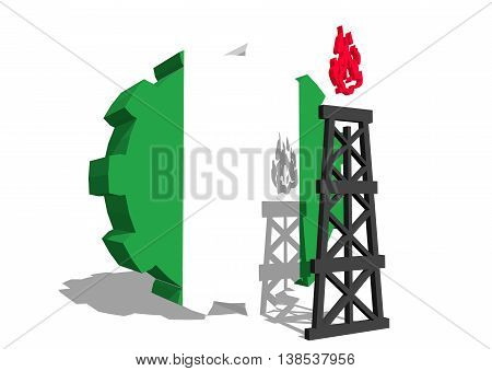 3D gear with gas rig simple icon, textured by Nigeria flag. Heavy and mining industry concept. 3D rendering