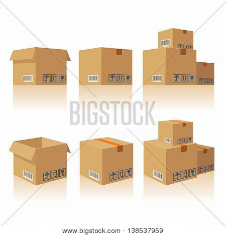 Closed and open recycle brown carton delivery packaging box with fragile signs. Collection vector illustration isolated box on white background for web, icon, banner, infographic.