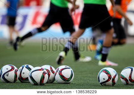 Soccer Ball And Feet Of Players