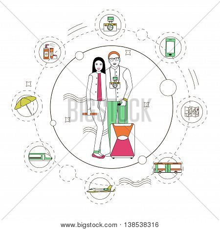Travel concept vector illustration in linear style. Design elements and line icons. Tourists pack their luggage and go to travel. Planning a vacation.