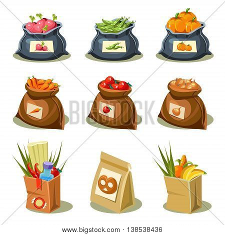 Natural food is very good organic vegetables in paper bag and sack concept illustration