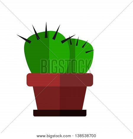 Green cactus in flowerpot. Isolated vector flat illustration.