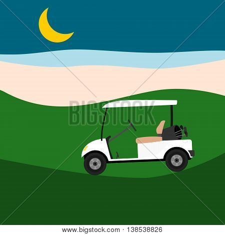 White empty golf cart on golf course at night. Vector illustration.