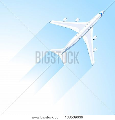 Airplane fly on the blue sky. Vector illustration top view modern flat design on the theme of air travel