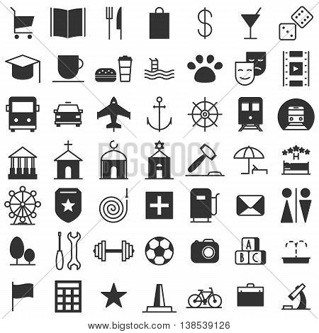 City map icons set. Indicate locations. Vector illustration line of collection of characters isolated on white background