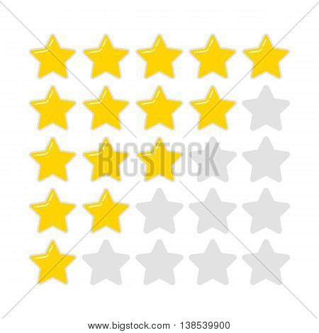Feedback element rating. Golden rounded star. Vector illustration flat style sign isolated for white background for web design site