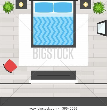 Top View Bedroom with bed, furniture, red chair, mirror, wooden floor, plant and dress room. Loft  modern design interior. Apartment plan. Vector illustration flat stye