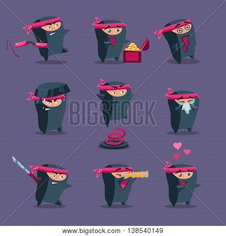 Collection of cute cartoon ninja warriors with various weapon,