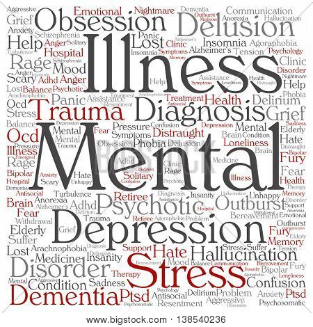 Concept conceptual mental illness disorder management or therapy abstract square word cloud isolated on background