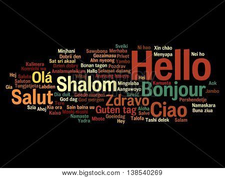 Concept or conceptual abstract hello or greeting international word cloud in different languages or multilingual