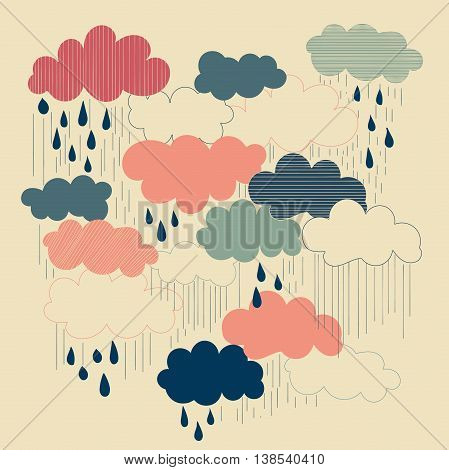 Rain season vector illustrations, clouds and raindrops in the sky. Retro style.