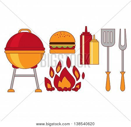 Infographic elements food grill, bbq, roast, steak flat illustration hipster concept.can be used for layout, advertising and web design.