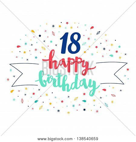 18 Happy Birthday Lettering With Tag And Stars, Crystals. Vector Greeting Card. Cute Pattern