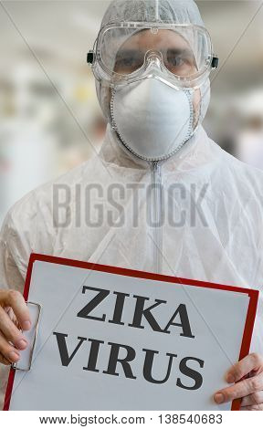 Man in coveralls warnings against ZIKA virus infection epidemic