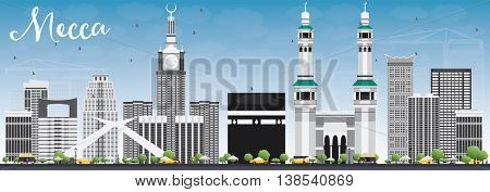 Mecca Skyline with Landmarks and Blue Sky. Travel and Tourism Concept with Historic Buildings. Image for Presentation Banner Placard and Web Site.