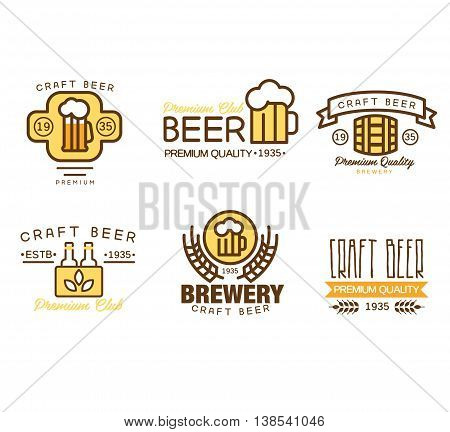 Set of vintage badge, logo templates and design elements for beer house, bar, pub, brewing company, brewery, tavern, restaurant