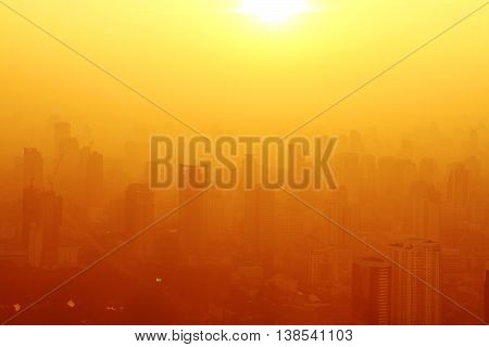 Aerial view of big city at misty sunrise Bangkok Thailand