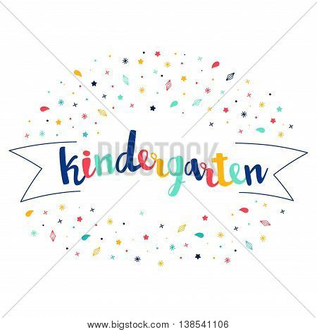 Kindergarten Lettering With Tag And Stars, Crystals. Vector Greeting Card. Cute Pattern