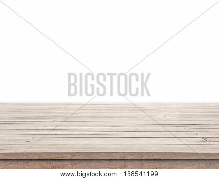 Empty wood table top isolated on white background. for product display montage.