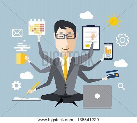 Businessman with multitasking and multi skill. Keep calm. Business concept. Flat design