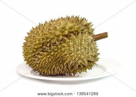 One Durian In Dish On White Background
