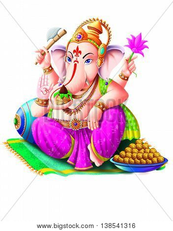 God Ganesha isolated on white background/ People worship