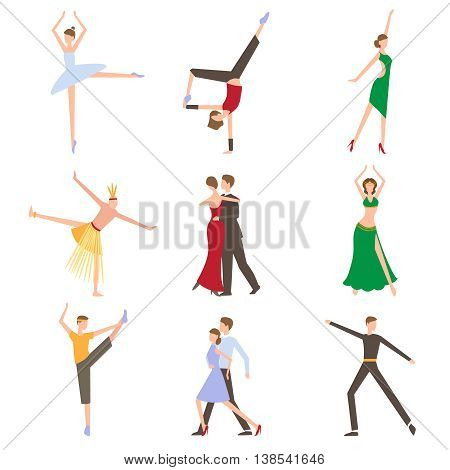 Dancing styles flat set with elegant dressed couples isolated illustration