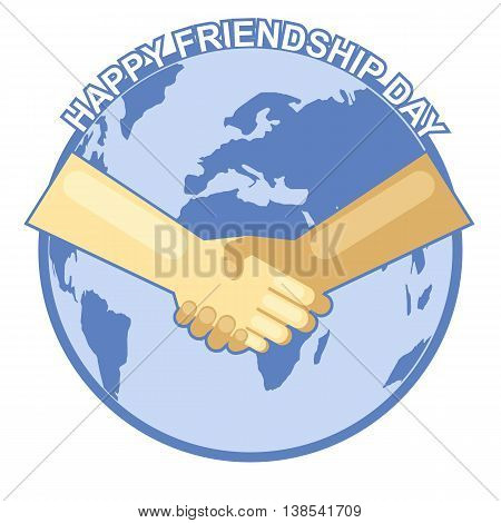 Happy friendship day card. 4 August. Best friends two shaking hands symbol over map of world backdrop. Digital vector image