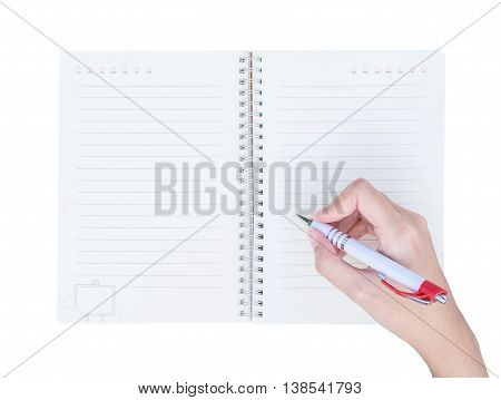 Closeup woman hand writing on note book with line in top view isolated on white background