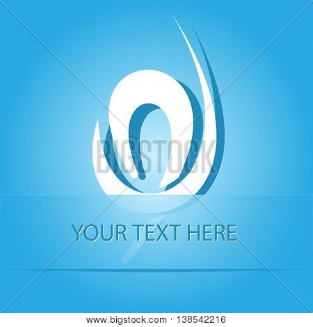 unique abstract forms. Paper blue sticker as bookmark. Vector illustration.
